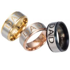 COI Tungsten Carbide Rose/Gold Tone/Black Silver Daddy Step Edges Ring With Custom Engraving-TG5249