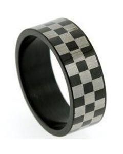 *COI Tungsten Carbide Black Silver Checkered Flag Pipe Cut Ring-TG5256