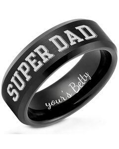 COI Black Tungsten Carbide Super Dad Beveled Edges Ring-TG5259