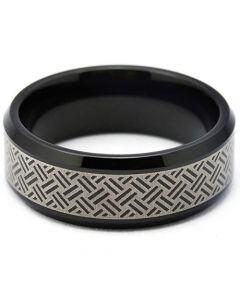 COI Tungsten Carbide Black Silver Laser Pattern Beveled Edges Ring-TG5260