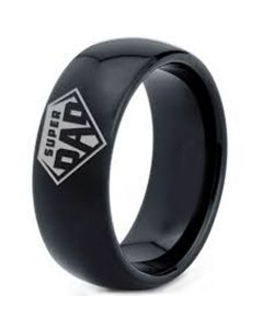 COI Black Tungsten Carbide Super Dad Dome Court Ring-5320