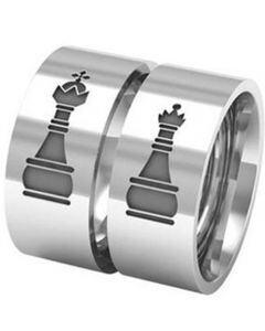 COI Tungsten Carbide King Queen Chess Pipe Cut Flat Ring-5329