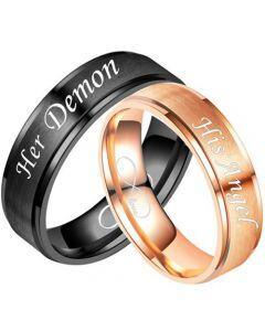 COI Tungsten Carbide Black/Rose Her Demon His Angel Step Edges Ring-5335