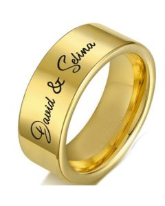 COI Gold Tone Tungsten Carbide Pipe Cut Flat Ring With Custom Names Engraving-5336