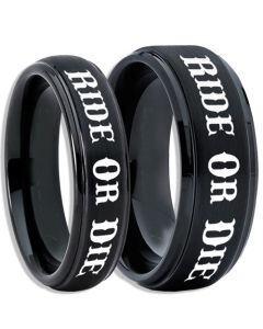 *COI Black Tungsten Carbide Ride or Die Step Edges Ring-5406