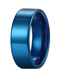 COI Blue Tungsten Carbide 12mm Pipe Cut Flat Ring-5429
