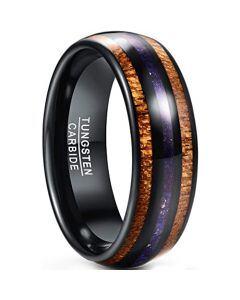 COI Black Tungsten Carbide Lapiz Lazuli & Wood Dome Court Ring-5434