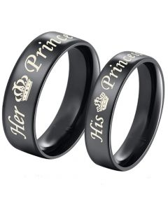 *COI Black Tungsten Carbide His Princess Her Prince Crown Dome Court Ring-5437