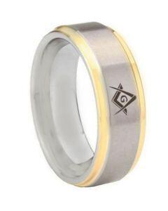 *COI Tungsten Carbide Gold Tone Silver Masonic Step Edges Ring-5442