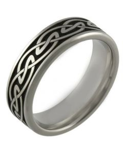 COI Tungsten Carbide Black Silver Celtic Beveled Edges Ring-5453