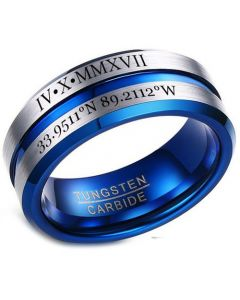 COI Tungsten Carbide Blue Silver Beveled Edges Ring With Custom Roman Numerals-5454