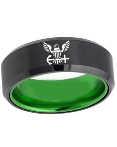 COI Tungsten Carbide Black Green United States Navy Beveled Edges Ring-5456