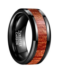 COI Black Tungsten Carbide 10mm Wood Beveled Edges Ring-5463