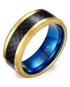 *COI Tungsten Carbide Blue Gold Tone Ring With Carbon Fiber-5465