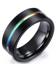 *COI Black Tungsten Carbide Rainbow Pride Center Groove Ring-5471