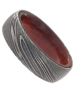 COI Black Tungsten Carbide Damascus Dome Court Ring With Wood-5473