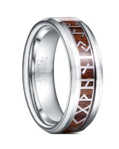 COI Tungsten Carbide Retro Phoenician Text Ring With Wood-5483