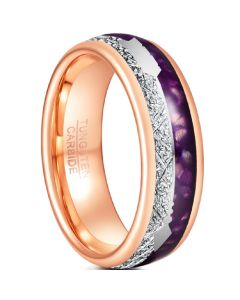 COI Rose Tungsten Carbide Meteorite & Purple Agate Ring With Arrows-5489