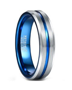COI Tungsten Carbide Blue Silver Center Groove Beveled Edges Ring-5490