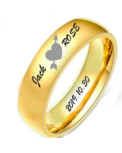 COI Gold Tone Tungsten Carbide Heart Ring With Custom Names Engraving-5496