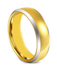 COI Tungsten Carbide Gold Tone Silver Beveled Edges Ring-5598