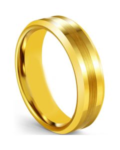 *COI Gold Tone Tungsten Carbide Beveled Edges Ring-5606