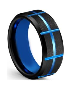 COI Tungsten Carbide Black Blue Grooves Beveled Edges Ring-5613