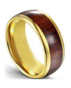 COI Gold Tone Tungsten Carbide Dome Court Ring With Wood-5616
