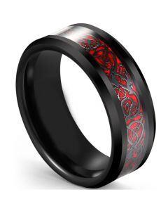 COI Tungsten Carbide Black Red Dragon Beveled Edges Ring-5617