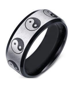 COI Tungsten Carbide Black Silver Yin Yang Beveled Edges Ring-5650