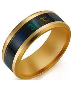 COI Gold Tone Tungsten Carbide Temperature Sensor Beveled Edges Ring-5664