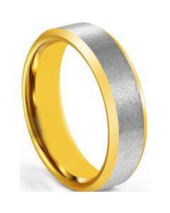 COI Tungsten Carbide Gold Tone Silver Shiny Matt Beveled Edges Ring-5674