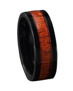 COI Black Tungsten Carbide Wood Pipe Cut Flat Ring-5772