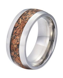 COI Tungsten Carbide Wood Dome Court Ring-5773