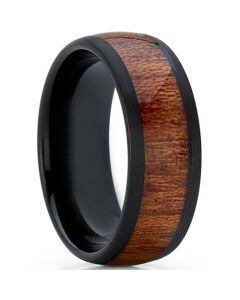 COI Black Tungsten Carbide Wood Dome Court Ring-5774