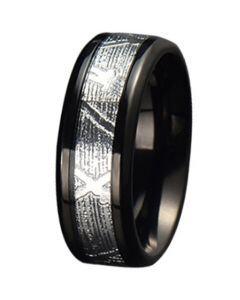 COI Black Tungsten Carbide Silver Inlays Beveled Edges Ring-5778