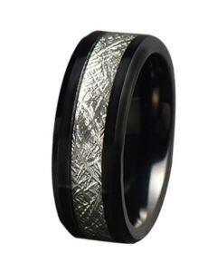 COI Black Tungsten Carbide Meteorite Beveled Edges Ring-5779