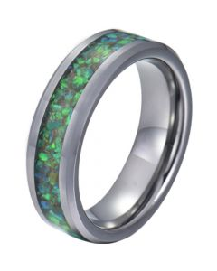 COI Tungsten Carbide Green Crushed Opal Beveled Edges Ring-5780