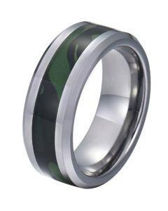 COI Tungsten Carbide Camo Beveled Edges Ring-5781