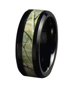 COI Black Tungsten Carbide Camo Beveled Edges Ring-5787