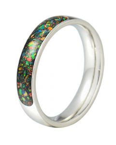 COI Tungsten Carbide Crushed Opal Dome Court Ring-5793