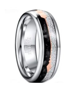COI Tungsten Carbide Meteorite And Black Agate Ring With Arrows-5825