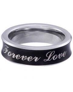 COI Tungsten Carbide Black Silver Forever Love Concave Ring-5854