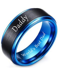 COI Tungsten Carbide Blue Black Daddy Ring With Custom Engraving-5857