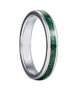 *COI Tungsten Carbide Green Malachite Dome Court Ring-5947