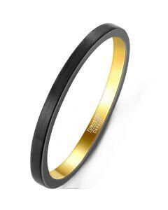 COI Tungsten Carbide Black Gold Tone 2mm Pipe Cut Flat Ring-5928
