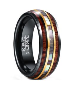 **COI Tungsten Carbide Black Gold Tone Abalone Shell & Wood Ring-5951