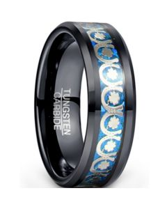 *COI Black Tungsten Carbide Beveled Edges Ring With Crushed Opal-5935