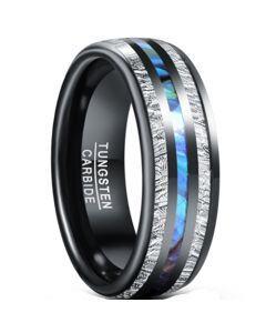 *COI Black Tungsten Carbide Meteorite & Abalone Shell Dome Court Ring-5938