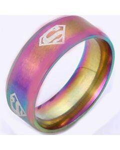 *COI Tungsten Carbide Rainbow Pride Superman Dome Court Ring-6001